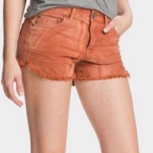 Free People rust orange gray hem denim shorts jean